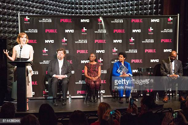 JOE'S PUB NEW YORK NY UNITED STATES Emma Watson offers her opening remarks as the rest of the panel sits on stage On International Women's Day NYC...