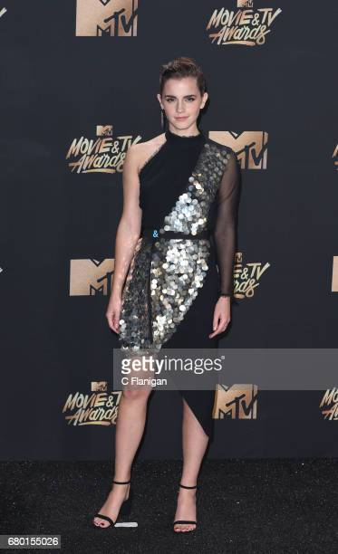 Emma Watson Poses in press room at the 2017 MTV Movie and TV Awards at the Shrine Auditorium on May 7 2017 in Los Angeles California