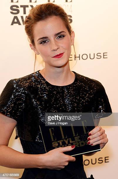 Emma Watson poses in the winners room at the Elle Style Awards 2014 at one Embankment on February 18 2014 in London England