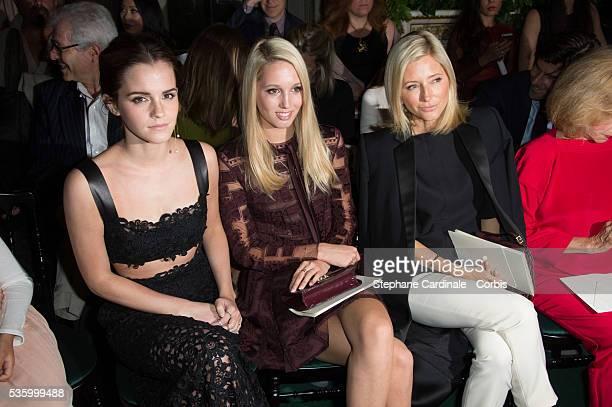 Emma Watson Princess Maria Olympia of Greece and Crown Princess Marie Chantal of Greece attend at the Valentino show during the Paris Fashion Week...