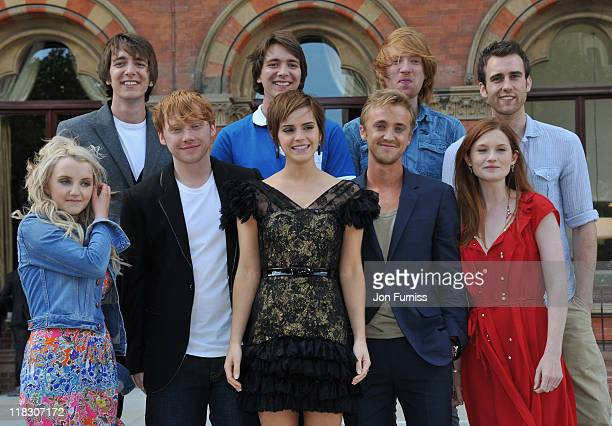 Emma Watson Rupert Grint Evanna Lynch Matt Lewis Domnhall Gleeson James Phelps Oliver Phelps Tom Felton and Bonnie Wright attend the 'Harry Potter...