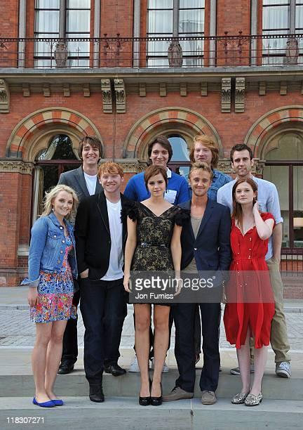 Emma Watson Rupert Grint Evanna Lynch Matt Lewis Domnhall Gleeson James Phelps Oliver Phelps Tom Felton and Bonnie Wright attend the 'Harry Potter...