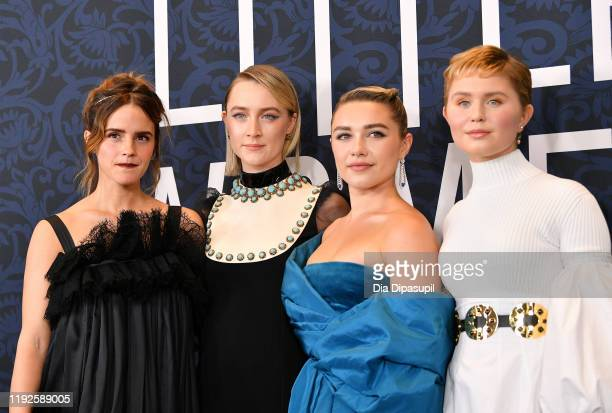 Emma Watson Saoirse Ronan Florence Pugh and Eliza Scanlen attend the Little Women World Premiere at Museum of Modern Art on December 07 2019 in New...
