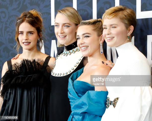 Emma Watson Saoirse Ronan Florence Pugh and Eliza Scanlen attend the world premiere of Little Women at Museum of Modern Art on December 07 2019 in...