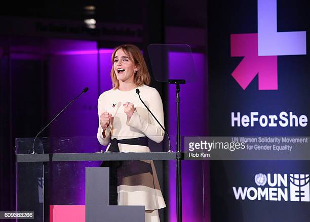 Emma Watson speaks at HeForShe 2nd Anniversary Reception at Museum of Modern Art on September 20, 2016 in New York City.