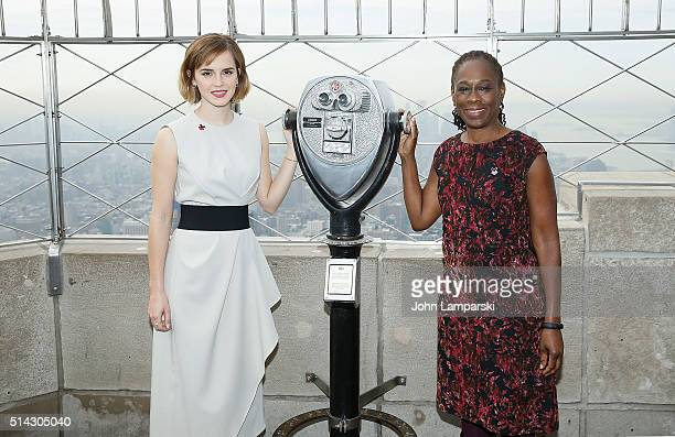 Emma Watson the First Lady of New York City Chirlane McCray light The Empire State Building for International Women's Day and the launch of HeForShe...