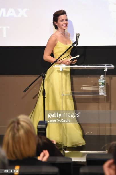 Emma Watson who stars as Belle in Disney's Beauty and the Beast shares her love of books with children from The NY Film Society for Kids at Lincoln...