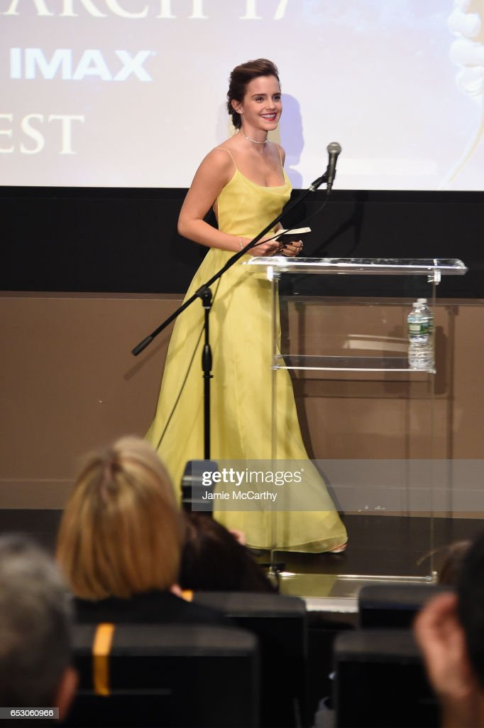 Emma Watson, Who Stars As Belle In Disney's Beauty And The Beast, Shares Her Love Of Books With Children From The NY Film Society For Kids At Lincoln Center's Beale Theater : News Photo