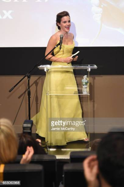 Emma Watson, who stars as Belle in Disney's Beauty and the Beast, shares her love of books with children from The NY Film Society for Kids at Lincoln...