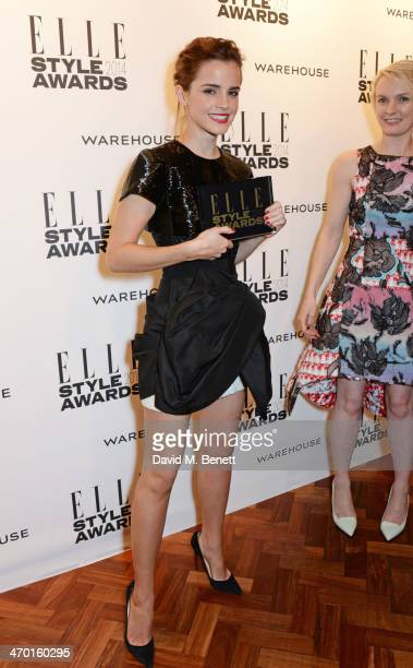 Emma Watson winner of Actress of the Year poses in the winners room at the Elle Style Awards 2014 at One Embankment on February 18 2014 in London...