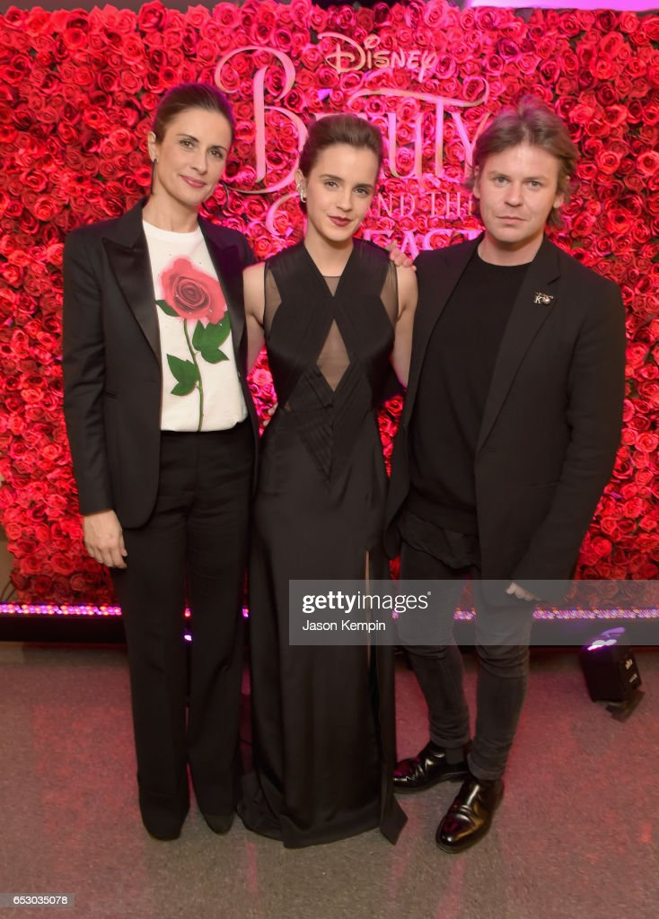 Emma Watson with Livia Firth, founder of Eco-Age, a sustainable brand consultancy, and designer Christopher Kane who collaborated to create a beautiful new collection inspired by Disney's live action adaptation of Beauty and the Beast at Lincoln Center on March 13, 2017 in New York City.