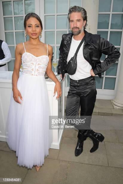 Emma Weymouth, Marchioness of Bath, and Jack Guinness attend a drinks reception celebrating 2021 BFC/GQ Designer Menswear Fund winner Priya Ahluwalia...