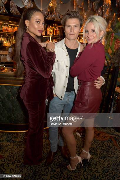 Emma Weymouth, Oliver Cheshire and Pixie Lott attend the TOMMYNOW after party at Annabels on February 16, 2020 in London, England.