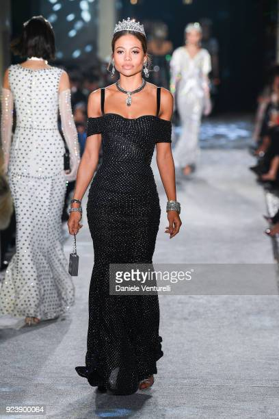 Emma Weymouth walks the runway at the Dolce Gabbana show during Milan Fashion Week Fall/Winter 2018/19 on February 24 2018 in Milan Italy