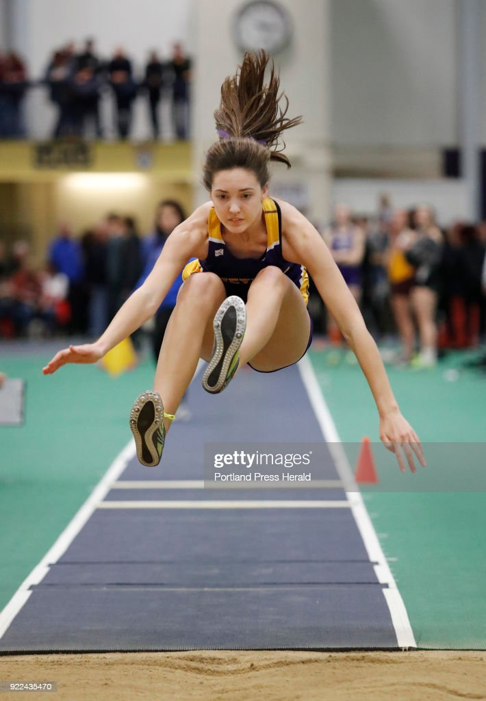Emma White, of Cheverus jumps in the triple jump during the Maine Class A Track and Field Championship Monday, Feb. 19, 2018 in Gorham, Maine.