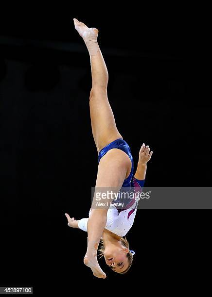 Emma White of Scotland competes on the Beam during the Women's Gymnastics Artistic Team Final at SECC Precinct during day six of the Glasgow 2014...