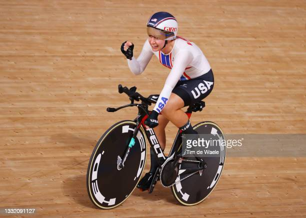 Emma White of Team United States celebrates winning a bronze medal after the Women's team pursuit finals, bronze medal of the Track Cycling on day...