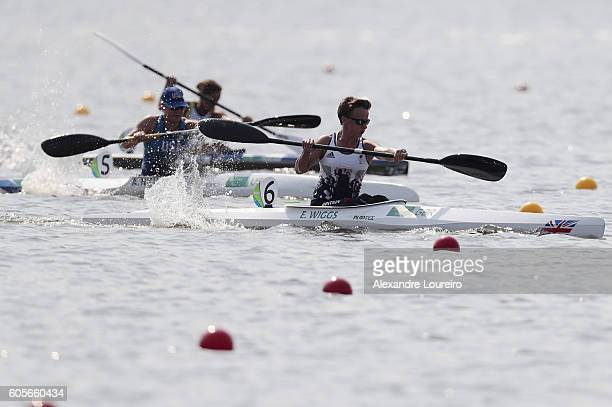 Emma Wiggis of Great Britain in action during the Canoe Sprint Women's KL2 200m heat 1 at Lagoa Stadium on day 7 of the Rio 2016 Paralympic Games at...
