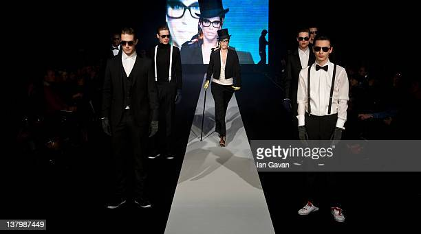 Emma Wiklund Sjoberg walks down the runway during the Safilo fashion show at the MercedesBenz Fashion Pavilion on January 30 2012 in Stockholm Sweden