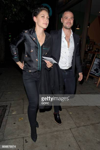 Emma Willis and Matt Willis leaving a restaurant in North London on October 7 2017 in London England