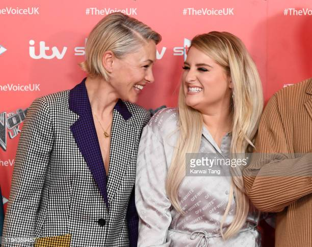 Emma Willis and Meghan Trainor attend the new series launch of The Voice UK 2019 at The Soho Hotel on December 16 2019 in London England