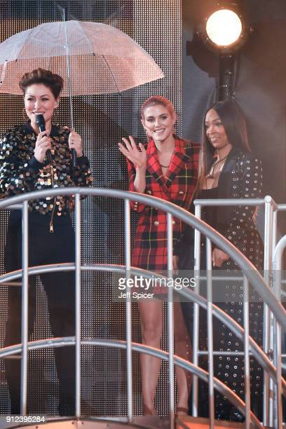 Emma Willis Ashley James and Malika Haqq during the Celebrity Big Brother eviction at Elstree Studios on January 30 2018 in Borehamwood England