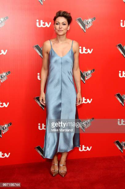 Emma Willis attends a photocall to launch season 2 of 'The Voice Kids' at Madame Tussauds on July 12 2018 in London England