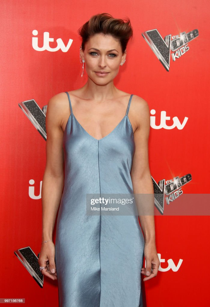 Emma Willis attends a photocall to launch season 2 of 'The Voice: Kids' at Madame Tussauds on July 12, 2018 in London, England.