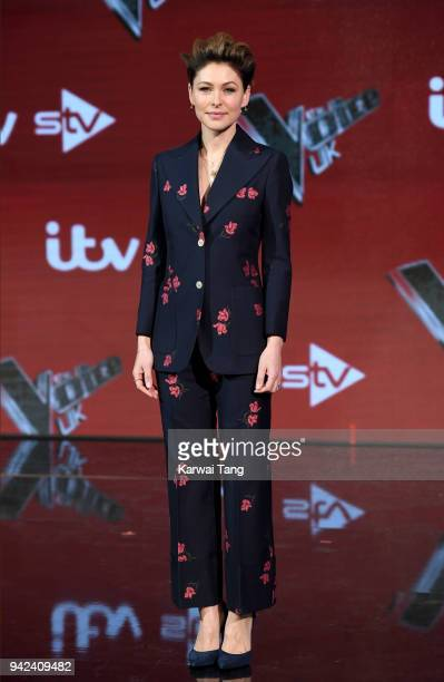 Emma Willis attends the prefinal event for 'The Voice' at Elstree Studios on April 5 2018 in Borehamwood England