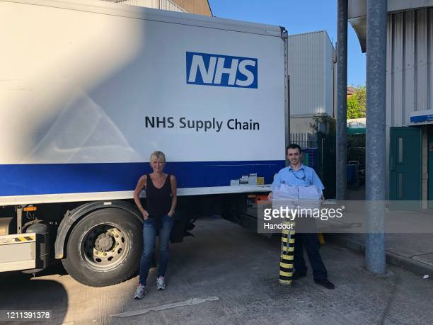 Emma Willis delivers NHS scrubs to Gloucestershire Royal Hospital on April 08 2020 in Gloucester England Benedict Cumberbatch and David Gandy donate...