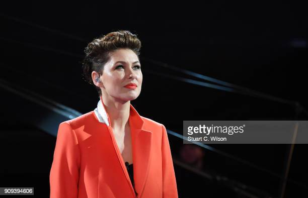 Emma Willis hosts the Celebrity Big Brother live eviction at Elstree Studios on January 23 2018 in Borehamwood England