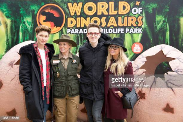 Emma Willis left Wildlife Park director Lynn Whitnall Tom Fletcher and Emma Bunton attending the opening of World of Dinosaurs a brand new attraction...