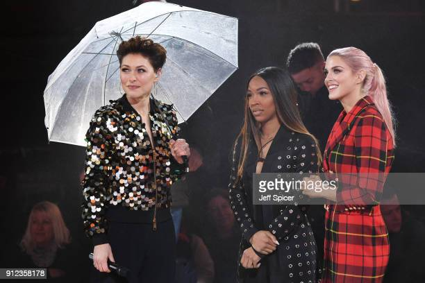 Emma Willis Malika Haqq and Ashley James during the Celebrity Big Brother eviction at Elstree Studios on January 30 2018 in Borehamwood England