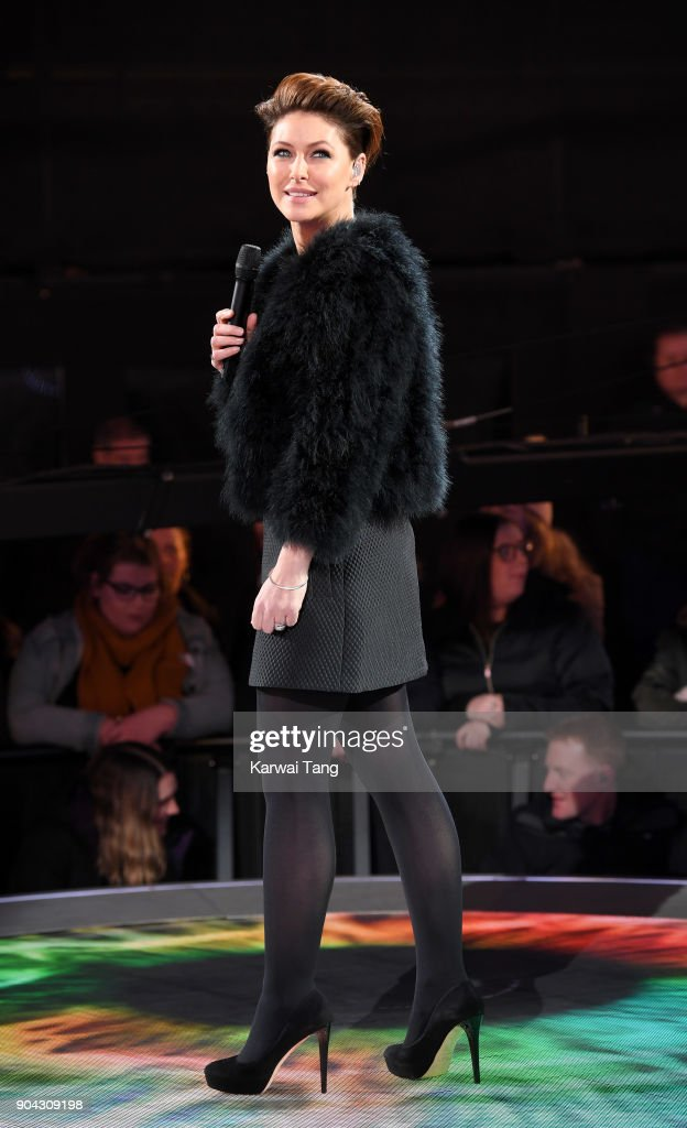 Emma Willis presents during the Celebrity Big Brother live eviction at Elstree Studios on January 12, 2018 in Borehamwood, England.