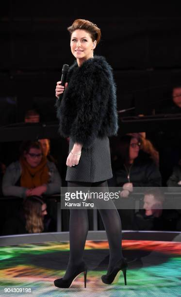 Emma Willis presents during the Celebrity Big Brother live eviction at Elstree Studios on January 12 2018 in Borehamwood England