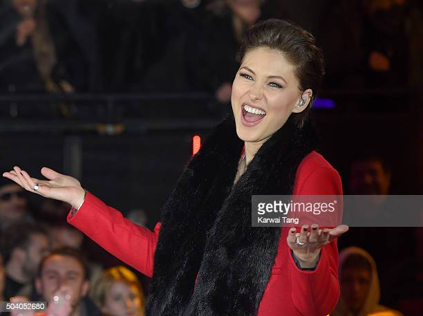Emma Willis presents from the Big Brother house at Elstree Studios on January 8 2016 in Borehamwood England