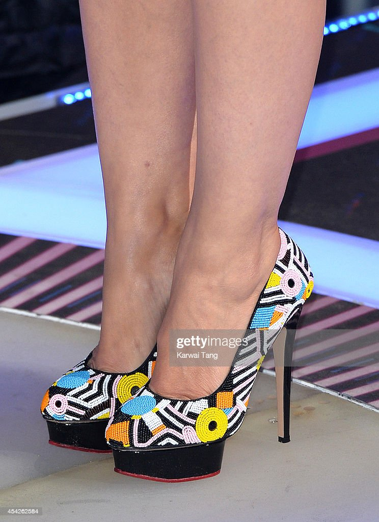 Emma Willis (Shoe detail) presents from the Celebrity Big Brother house at Elstree Studios on August 27, 2014 in Borehamwood, England.