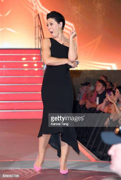 Emma Willis presents from the Celebrity Big Brother house at Elstree Studios on August 25 2017 in Borehamwood England