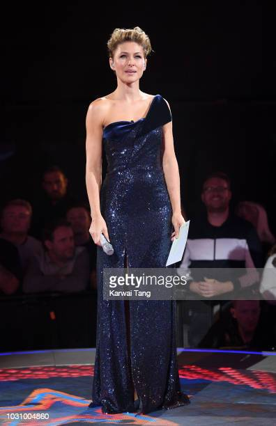 Emma Willis presents the final from the Celebrity Big Brother house at Elstree Studios on September 10 2018 in Borehamwood England