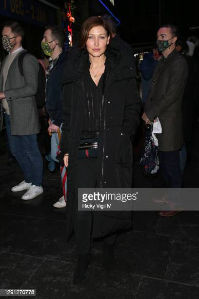 """Emma Willis seen attending the """"A Christmas Carol"""" opening night at the Dominion Theatre on December 14, 2020 in London, England."""