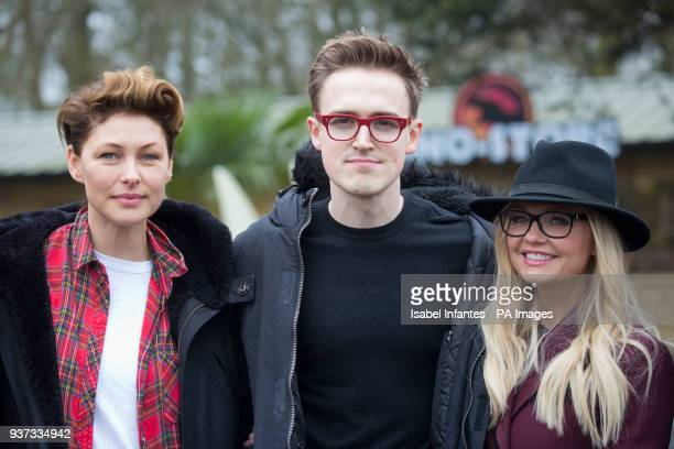 Emma Willis Tom Fletcher and Emma Bunton attend the opening of World of Dinosaurs a brand new attraction at Paradise Wildlife Zoo Hertfordshire PRESS...