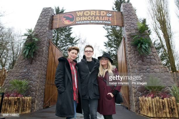 Emma Willis Tom Fletcher and Emma Bunton attending the opening of World of Dinosaurs a brand new attraction at Paradise Wildlife Zoo Hertfordshire