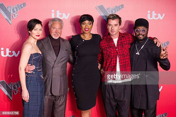 Emma Willis Tom Jones Jenifer Hudson Gavin Rossdale and WillIAm arrive for the press launch of The Voice UK at Millbank Tower on January 4 2017 in...