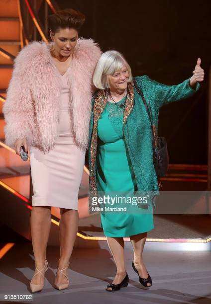 Emma Willis with Ann Widdecombe as she finishes in second place during the 2018 Celebrity Big Brother Final at Elstree Studios on February 2 2018 in...