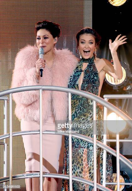 Emma Willis with Jess Impiazzi as she evicted during the 2018 Celebrity Big Brother Final at Elstree Studios on February 2 2018 in Borehamwood England