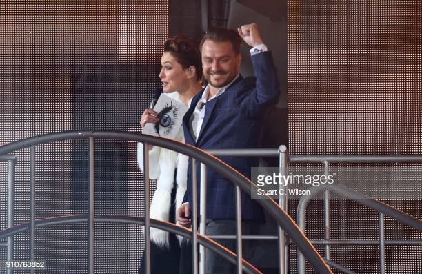 Emma Wills greets Daniel O'Reilly during his eviction on Celebrity Big Brother at Elstree Studios on January 26 2018 in Borehamwood England