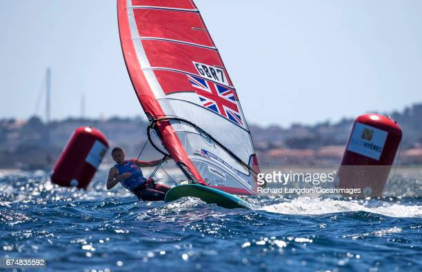 Emma Wilson from the British Sailing Team sails her RSX during the ISAF Sailing World Cup Hyeres on APRIL 29 2017 in Hyeres France