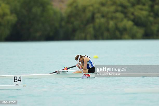 Emma Winders of Otago wins the Womans under19 single sculls final during the South Island Club Championships at Lake Ruataniwha on February 2 2014 in...
