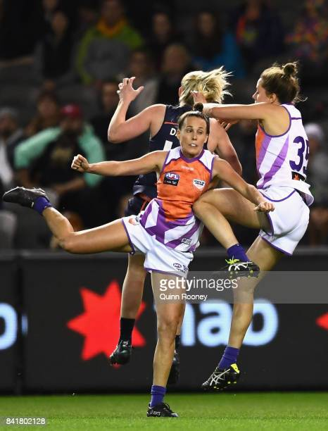 Emma Zielke of the Allies collects a knee to the ribs during the AFL Women's State of Origin match between Victoria and the Allies at Etihad Stadium...