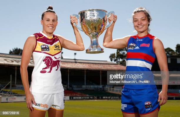Emma Zielke of the Lions and Ellie Blackburn of the Bulldogs pose for a photograph during the AFLW Grand Final media opportunity at Ikon Park on...
